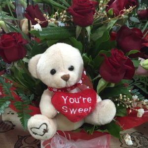 Wandin Florist Bear & Red Rose Box