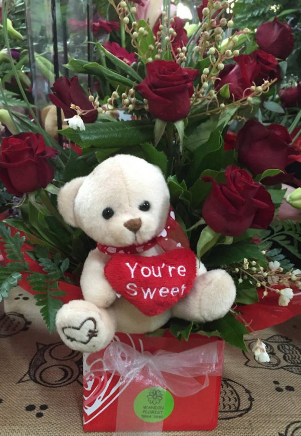 Wandin Florist Bear & Red Rose Box