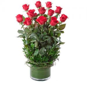 Designer Vase & Red Roses