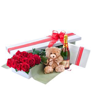Grand Seduction – Red Roses, Wine, Bear, Chocolates Gift Box