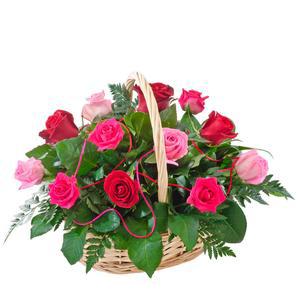 Caress - Red & Pink Roses Basket